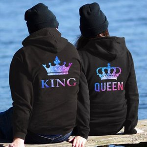 QUEEN KING CROWN Couple Hoodies Chritsmas Costumes Women Men Lovers Sweatshirt Lovers Couples Sudaderas de mujer