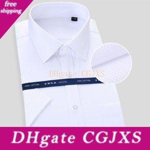 عالية الجودة غير -Ironing الرجال اللباس قميص قميص قصير الأكمام جديد الصلبة ذكر الملابس صالح الأعمال أبيض أزرق