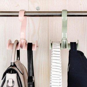 Dolap Çanta Askı Hat Döner 1pc Üç Renk Yaratıcı Çok Fonksiyonlu Plastik çift Kancalı Tie Yuvası Rack HNhk #