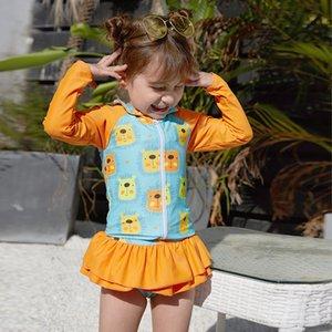 GYOoO 2019 Nuovo caldo vendendo un pezzo a due pezzi dei bambini lungo manica corta Pengpeng gonna costume da bagno a prova di sole Pengpeng gonna stampata gir