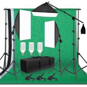 Фотография фона кадра Поддержка Softbox Lighting Kit Photo Studio оборудование Аксессуары с 3шт фоном и штатив Стенд LJ200904