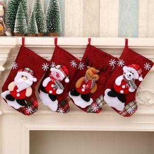 Bolsas de Navidad grande Medias muñeco de nieve de Santa Claus regalo del caramelo Los titulares de Navidad Calcetines que cuelgan adornos de Navidad de la decoración LSK1102 el transporte marítimo