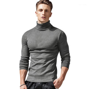 T-shirt col Casual Couleur solides manches longues T-shirts Pull 20AW Hommes Hauts Designer Automne Mens