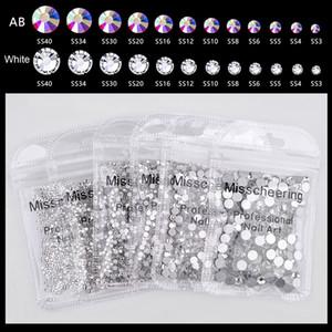 uper Glitter SS3-SS30 1440pcs Crystal AB Flat Back Nail Rhinestone 3D Non HotFix Nail Art Decoration Glass Manicure Accessories