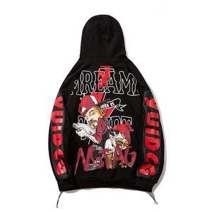 Mens Clothing Homme Hooded Sweatshirts Man Autumn winter Hoodies High Street Cartoon print Pullover Hip hop w983