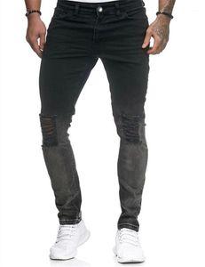 Slim Washed Pencli Pantalon de luxe Hommes Zipper Jeans Hommes Jeans Fashion Trou BMS Deisgner