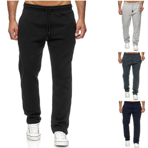 QNPQYX Jogging Cotton Men Sweatpants longo Track Pants Sports calças dos homens retos Basketball Run Jogging Calças de fitness