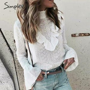 Simplee Elegant ruffled cotton blouse women Stand neck embroidery female autumn tops shirts Long sleeve office ladies white tops 200924