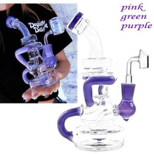 lavanda 8inch viola tamponare rig percolatore vetro bong olio erogatore acqua bottiglia spray rig tubo di vetro 14 millimetri banger