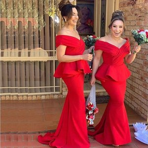 Red Off the Shoulder Mermaid Bridesmaid Dresses With Pepulm 2020 Long Satin Maid of Honor Dress vestidos de dama de