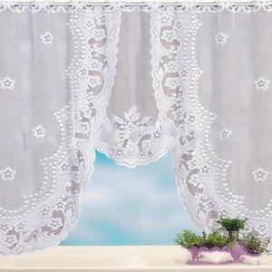 Yatak odası Roman Kör Mutfak Valance Pencere Perde Kahve Bölücüler Perde İçin Avrupa Beyaz Dantel Şeffaf Perde