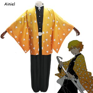 Parrucca Halloween Ainiel Demon Slayer Cosplay Disfraz Agatsuma Zenitsu Costume Kimetsu No Yaiba Clothes Kimono Ghost Squad Uniform