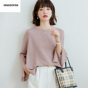 INNASOFAN de Moda de Nova Magro Loose-fitting Sweater Mulheres Primavera Verão Knit Sweater euro-americana Moda Casual Irregular 82IL #