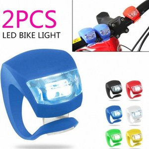 2Pcs Waterproof Silicone Bicycle Bike Cycle Safety LED Head Front & Rear Tail Light Set zUOc#