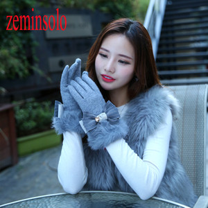 Fashion Bow Solid Women Wool Cashmere Winter Gloves For Touch Screens Fur Mittens Elegant Long Genuine Leather Gloves