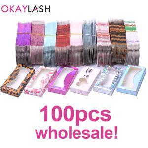 OKAYLASH Newes 50 / 100pcs de papel caja de cartón de embalaje de 25 mm de largo de pestañas a granel al por mayor de bonitas pestañas barato almacenamiento Servicio de empaque