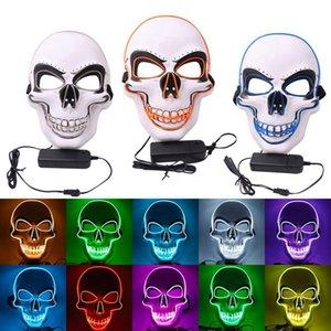 Hasta Máscara de Halloween Luz LED de Cosplay Scary cráneo de la muerte Cara Máscara EL cable del partido del festival neón fluorescente Decoración DDA435