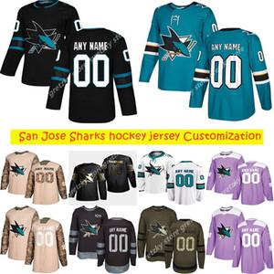 사용자 정의 2020 뉴스 SAN Jose Sharks Hockey Jerseys 여러 스타일 맨 88 브렌트 레코딩 모든 이름의 모든 숫자의 하키 유니폼 사용자 정의