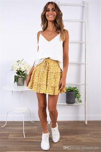 Short Dresses Womens Above Knee A Link Dresses High Waisted Flounces Summer Dresses Floral Printed Beach
