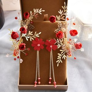 Bridal Beauty vintage red rose flower Pearl Hair Clips Handmade Hair Accessories Flower Side Clips for Women with earrings
