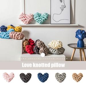 Handmade Weave Knot Coxim Heart Shaped Almofada Macaron cor decoração Home THJ99