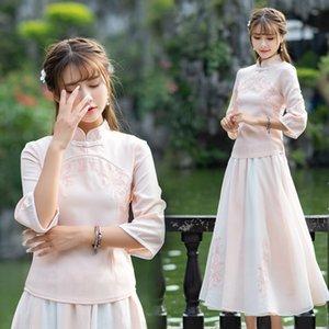 SBXnM New 6449 estilo étnico nacionalidade top bordado moderno top camisa do chá terno dos embroideredwomen nacionalidade das mulheres
