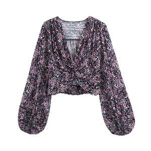 BLSQR dulce de las mujeres blusas de impresión de la flor del V-cuello de la linterna mangas femeninas Camisas elegantes tapas de la cosecha