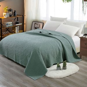 CHAUSUB Quality Bedspread Quilt 1PC Sand Washing Cotton Quilts Embroidered Quilted Coverlet 200*230cm Soft Blanket 6-Colors