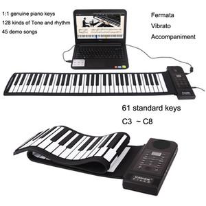 Dobrável 61 teclas Piano Flexível eletrônico suave Elétrica Digital Keyboard Piano suave Roll Up Keyboard Piano USB saída MIDI presente da música para crianças
