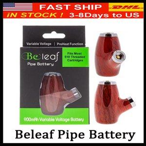 Original Beleaf TUBO batería inteligente Vape cartucho de la pluma ajustable 900mAh precalentamiento VV vairable Voltaje 510 Rosca E Pipe DHL Fash envío