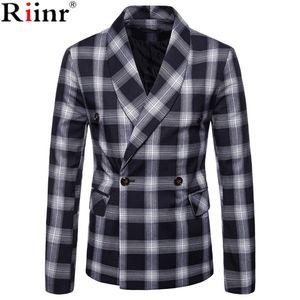 Riinr Fashion Men Blazer Casual Suit Slim Fit Suit Jacket Men Business Autumn Men's Casual Green Collar Double-Breasted