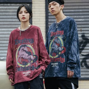 Sweater Men The New Tie dye unicorn printing pullover Couple outfit Distressed fashion Casual Loose Long sleeve T-shirt All-match Korean