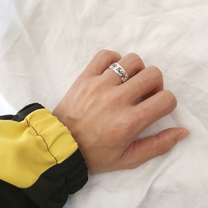 I progettisti design 17fw cieco per Flower cuore di amore Anello Fearless Amore Eye e Coppie Uccello Lettera d'acciaio di titanio anello largo