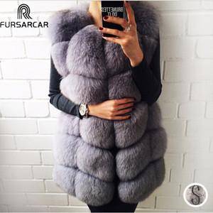 FURSARCAR Long réel Fox Gilet de fourrure véritable pour les femmes Manteaux d'hiver en cuir femme fourrure de renard Veste de luxe vêtement Personnaliser CX200825