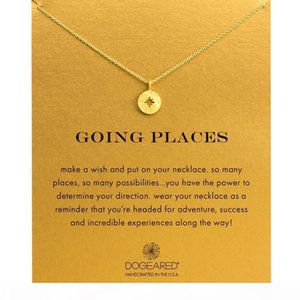 Fashion Dogeared Necklace compass Pendant, WITH CARD gold color noble and delicate choker necklace , no fade Necklace Jewelry