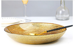 2020 vente chaude modèle de paille de blé créatif plaque de verre Creative or plaque alimentaire occidentale assiette de fruits plaqué