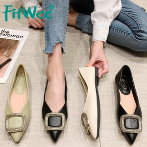 FITWEE bout pointu Flats Women Chaussures mode couleur solide Slip Metal On Chaussures Femme Chaussures Bureau doux Lady Casual Taille 35-40