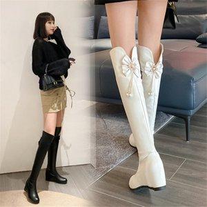 Ботинки Pxelena 2021 осень стильный цветок хрусталь жемчуга женщин над коленом скрытый клин высокие каблуки обувь леди ежедневная офисная вечеринка