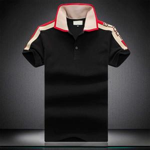 Sıcak Lüks satış İtalya Yaz Erkek Lüks kaliteli pamuk Polo Gömlek Renkler Kısa Kollu Kontrast Patchwork Baskılı Yaz Tişörtlü Aşağı GG le