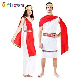 B64wJ Potencia del traje de baile de máscaras antiguo egipcio Servicio de pañuelo rojo pareja griega juego El juego de rol fZ6Tn ropa de Halloween DS