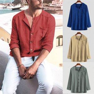 Мужские белье Хлопок Повседневный Весна Плюс Размер 4XL с длинным рукавом Comfort Top Высокое качество Твердые рубашки Streetwear