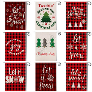 2020 Christmas Garden Flag Double Side Printed Red Plaid Letter Printed Festival Courtyard Hanging Banner Flags Decoration 47*32cm D92507