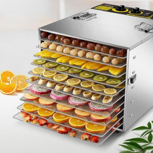 Dehydratoren Edelstahl für Haus Dörrobst Maschine Obst und Gemüse Dehydration Lufttrockner Pet 10 Schichten Trockner