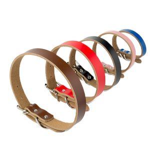 6 cores 5 tamanhos High Grade Hot Pure Couro Coleira de couro real do cão espessamento cadeia de tracção de corda Acessórios Dog 50pcs