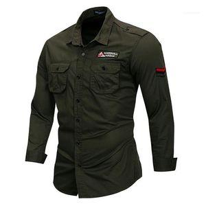 Рубашки нагрудные шеи Army Green Plus Размер мужские рубашки с Карманы вышивки с длинным рукавом Открытый Mens Casual
