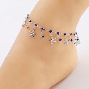 2020 rhinestone starfish yoga women's anklets