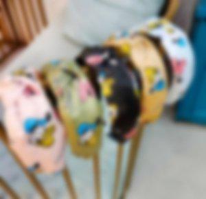 I personaggi del mouse del fumetto della stampa Lettera Donne Hairband a strisce dei capelli della fascia Stampa stilista marchio larga bowknot fascia Accessori per capelli