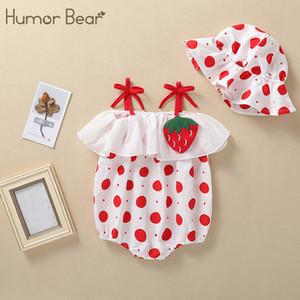 Humor oso 2020 verano ropa del bebé de la manera a estrenar lindo Mono punto de impresión sin mangas + Sombrero niñas pequeñas mamelucos de la ropa