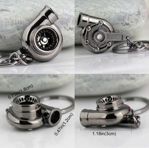 Car Favorite 13 Spinning Turbocharger Keychain Turbo Creative Keychains Turbine Sleeve Keyfob Parts Fans Bearing Key Keyring Ring Chain ACz