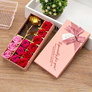 12PCS Set 24K Gold Rose Soap Flower Golden Rose Gift Box for Girlfriend Practical Creative Romantic Gold Foil Birthday Gift